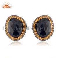Sterling SIlver Blue Sapphire Diamond Earrings