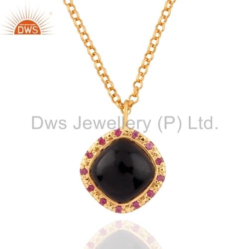 Black Onyx and Ruby Gemstone Silver Pendant