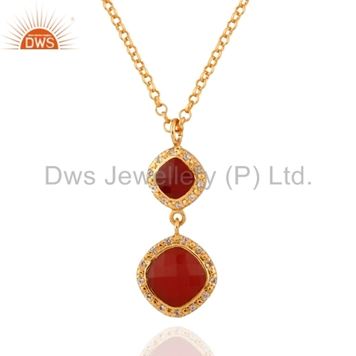 Red Onyx and White Topaz Silver Pendant