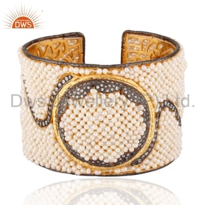 18K Gold Plated Pearl 925 Silver Cuff