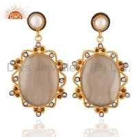 18ct Gold Vermeil on Sterling Silver Pearl White Agate Earrings