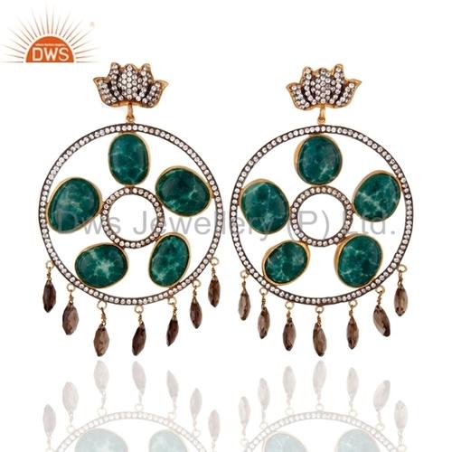 Emerald 18K Gold on Silver Smoky Quartz Earrings