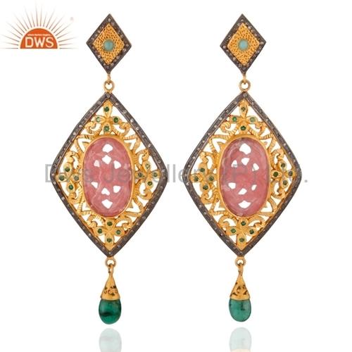 Rhodocrosite Diamond Sterling Silver Emerald Earring