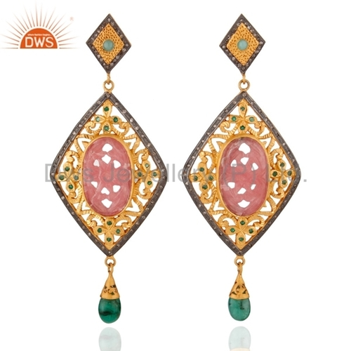 Rhodocrosite Diamond Sterling Silver Emerald Earring