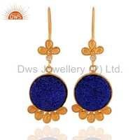 Gold Vermeil Blue Druzy Quartz Earrigns