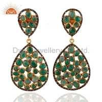 Emerald Pave Diamond Gold Vermeil Sterling Silver Earrings