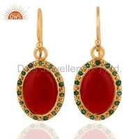 Emerald Natural Red Onyx Earring Jewelry