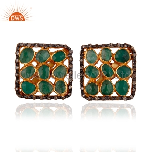 Emerald Beaded Pave DIamond Earring Jewelry