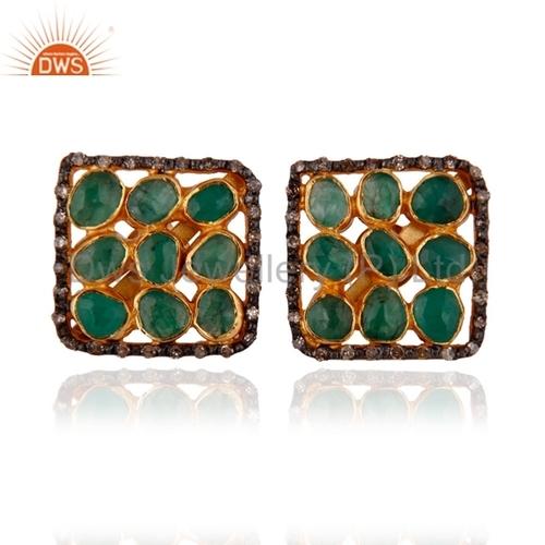 Emerald Beaded Pave DIamond Earring Jewelry