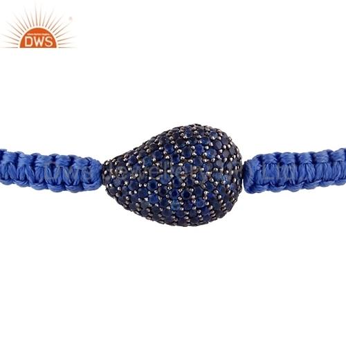 Natural Blue Sapphire Gemstone Silver Bracelet