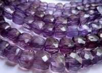 Brazil amethyst 8mm-9mm faceted box beads single strand 8 inch