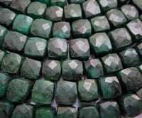 emerald dyed 8mm-9mm faceted box beads single strand 8 inch