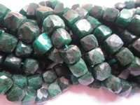 emerald dyed 10mm-9mm faceted box beads single strand 8 inch