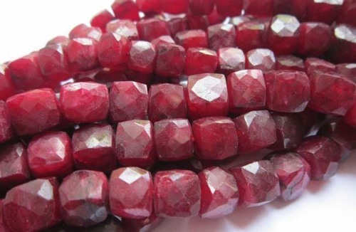 ruby dyed 10mm-9mm faceted box beads single strand 8 inch