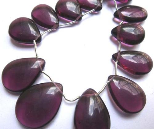 21 pcs amethyst quartz 10x14mm to 15x22mm plain almond beads  single strand