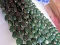 11mm-12mm Green aventurian faceted coin beads single strand 13 inch
