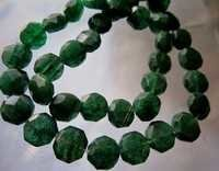 13mm-12mm Green aventurian faceted coin beads single strand 13 inch