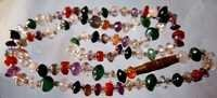 16 inch multi stone plain rondell beads with clasp
