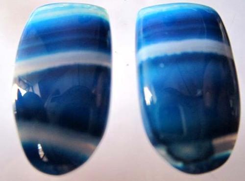 2 pcs  Natural multi chalcedony  oval shape cabochons #2073