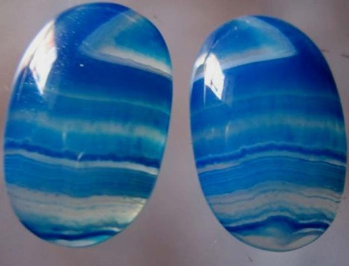2 pcs  Natural multi chalcedony  15x24mm oval shape cabochons #2091
