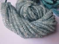 aquamrine faceted rondell beads one strand 4mm 13 inch