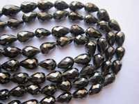 natural zircon black color faceted top drill drops beads one strand 5x7mm to 5x9mm 8 inch