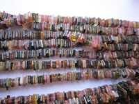 multi tourmaline square beads single strand 15 inch 3.5mm