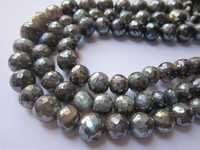 Labradorite coated faceted round single strand 8inch 9mm