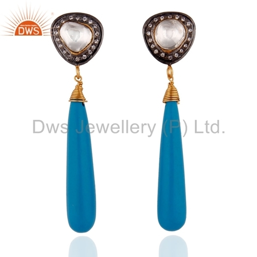 Natural Turquoise Gemstone CZ Earring Jewelry