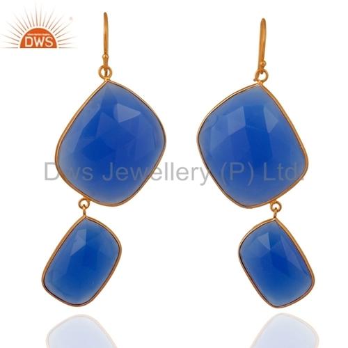 Designer Blue Chalcedony Gemstone Earrings