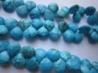 8 inch turquoise lining faceted briolettes 7-8mm beads single strand