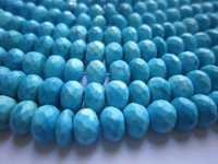 8 inch turquoise faceted rondelle 7mm beads single strand