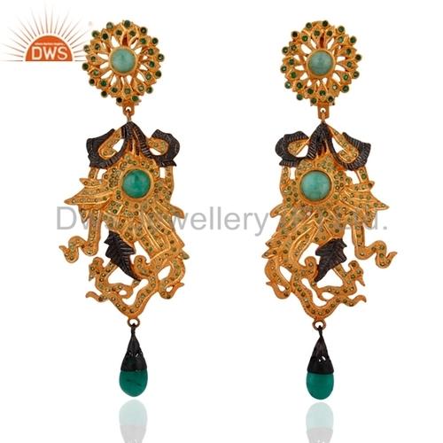 Natural Emerald Gemstone Earrings Jewelry