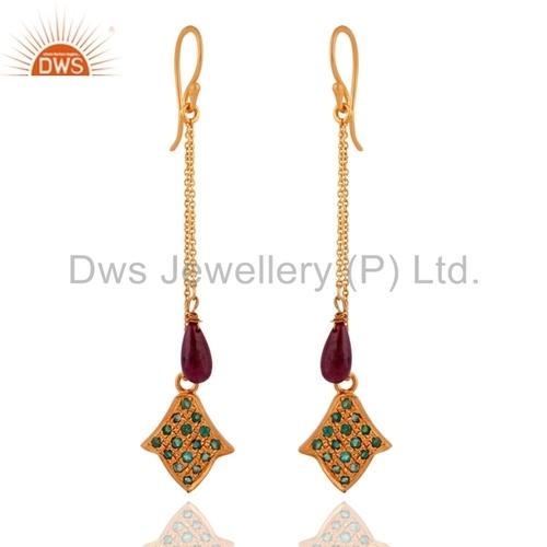 Emerald Beads Ruby Gemstone Earrings Jewelry