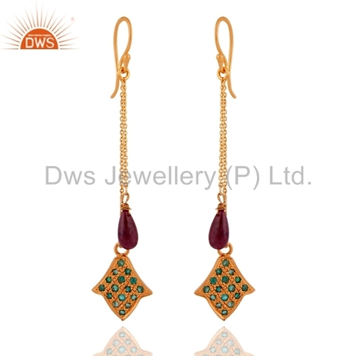 Emerald Beads Ruby Gemstone Earrings Jewelry