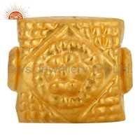 18k Yellow Gold Charm Beads Jewelry