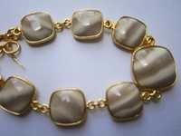 Bio Agate 7 Pcs Connectors Gold Plated Bracelet 7.5 Inch