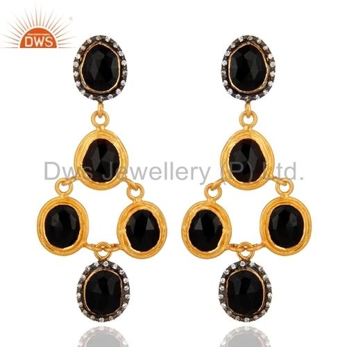 Zircon Black Onyx Gemstone Dangle Earrings Jewelry