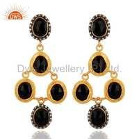 Zircon Black Onyx Gemstone Dangle Earrings Jewelry