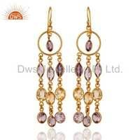 18k Gold Plated Citrine and Amethyst Earrings
