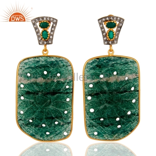 Carved Aventurine 18K Gold Plated Earrings