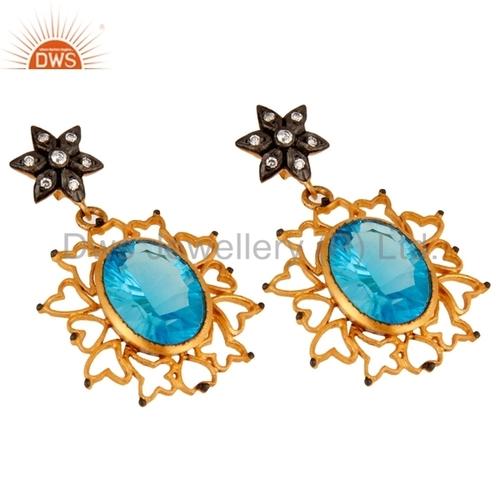 Blue Topaz Gold Plated Earring