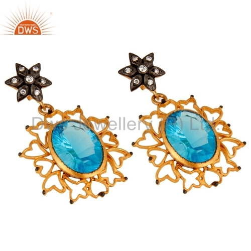 Blue Topaz Gold Plated Earring