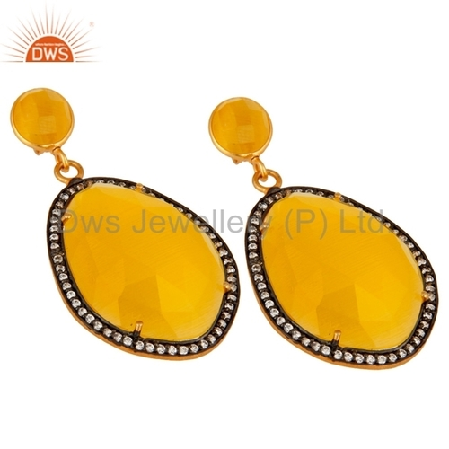 Yellow Moonstone Gold plated Brass Earrings