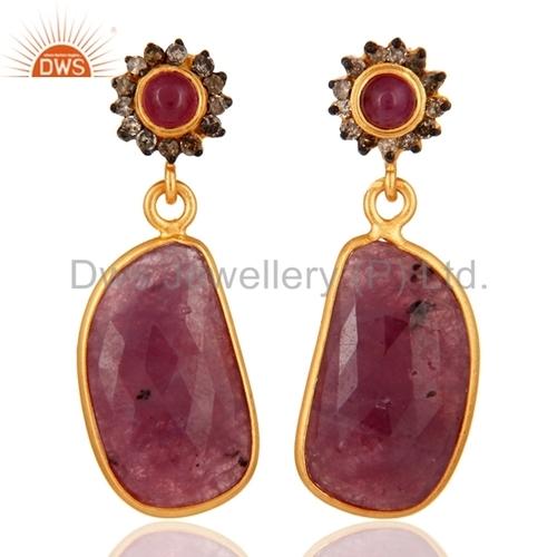 Sterling Silver Pave Diamond Ruby Gemstone Earrings