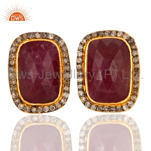 Pave Diamond & Ruby Gold Plated Earring