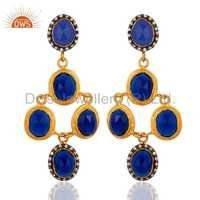 Gold Vermeil Sterling Silver Blue Corundum Earrings