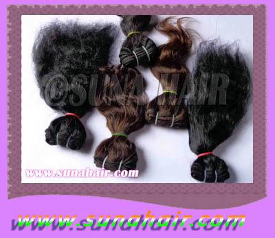 Wholesale hair machine weft body wavy human hair ex