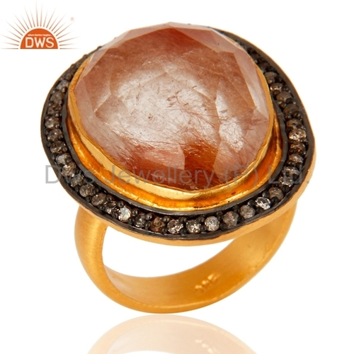 Gold Over Sterling Silver Rutilated Quartz & Pave Diamond Ring