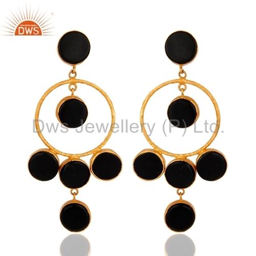 Black Onyx Sterling Silver 18k Gold Vermeil Earrings
